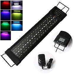 Aquarium-LED-Beleuchtung-Lampe-LED-Aquarium-Light-45cm-24W-Aquariumleuchte-mit-Zeitmessgert-und-Einstellbare-Halterung-fr-45cm-65cm-Full-Spectrum-Leuchte-fr-Swasser-Aquarium-Pflanze-Marine