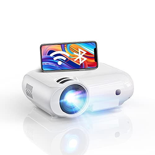 Proiettore WiFi 2.4G + 5.8G Bluetooth, 7500 lumen, 1080P Full HD Nativo Supporto, proiettore esterno, compatibile con chiave TV, altoparlante DSP integrato
