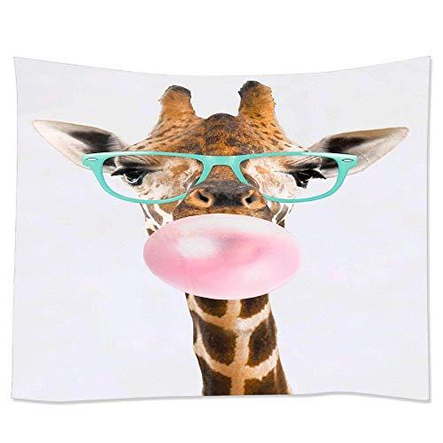 N\A Tapiz para Colgar en la Pared, tapices Trippy, decoración del hogar, Tiro de Playa, Divertidas Gafas de Jirafa, Chicle Rosa