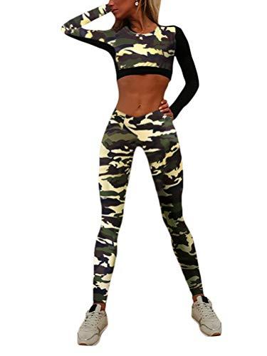 ORANDESIGNE Damen Sportanzug Trainingsanzug Stretch Langarm Crop Top + Leggings Fitness Set Sport Freizeit Zweiteiler Camouflage Yoga Gym Set A Gelb (Set) X-Small