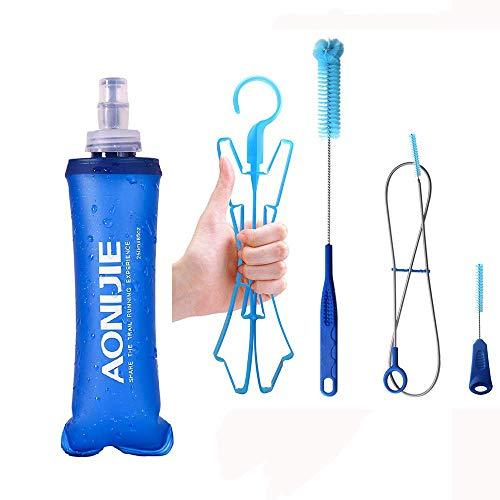 KingBra - Botella de agua plegable de TPU, sin BPA, 250/500 ml, ligera, plegable, con bolsa de hidratación, kit de limpieza de tubo para