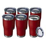 20 oz 6 Packs Wholesale in Bulk Insulated Stainless Steel Tumblers Reusable Coffee Travel Mugs with Lid Hot n Iced Cups, Double Wall Blank Vacuum Metal Thermal Women Men (Half A Dozen, Brick Red)
