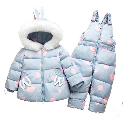Sijux Bebé Unisex Invierno Puffer con Capucha Traje De Nieve Chaqueta De Plumón Y Peto De Esquí Pantalones De Nieve, Conjunto De 2 Piezas para Niños,Light Blue,80