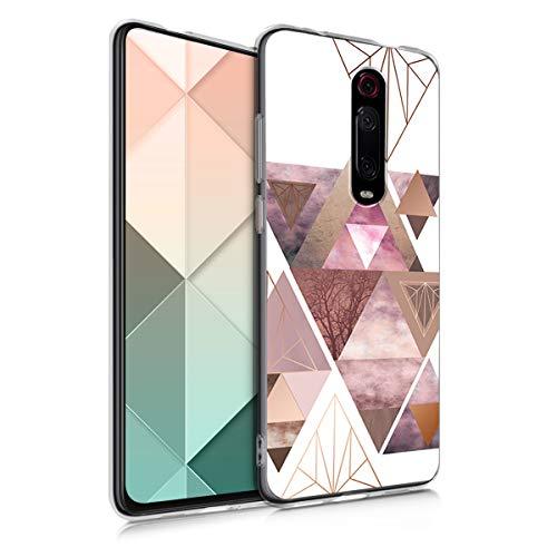 kwmobile Hülle kompatibel mit Xiaomi Mi 9T (Pro) / Redmi K20 (Pro) - Handyhülle - Handy Hülle Glory Dreieck Muster Rosa Rosegold Weiß
