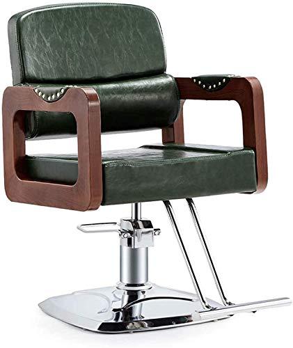 Elegante silla oficina, silla giratoria Silla de barbero hidráulico ajustable | Silla reclinadora giratoria de cuero de PU | Sillón de sillón de espalda alta con taburete de reposapiés ( Color : B )