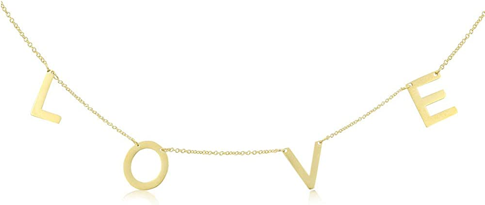 Joy and Rachel IPG Gold Plated Plain Love High Polished Stainless Steel Collar Necklace Length16,17,18