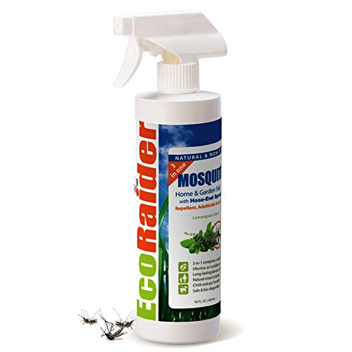 EcoRaider Mosquito Yard Treatment 16OZ, 3-in-One Triple-action, Kills Mosquito+ Kills Larvae + Repellent, Lasting Protection, Children and Pets Friendly