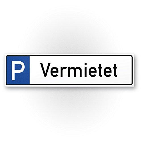 Parkplatz vermietet Kunststoff Schild (40 x 10cm), Parkverbot SchildParken Verboten, Hinweisschild Privatparkplatz reserviert - freihalten, Parkplatzschild vermietet - Falschparker