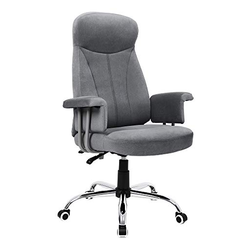 Songmics OBG41G Bureaustoel met hoge rugleuning, in hoogte verstelbare draaistoel met fluwelen bekleding, grijs