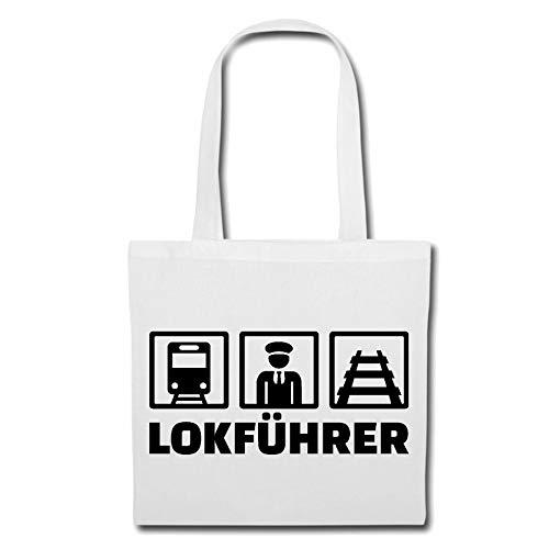 Tasche Umhängetasche LOKFÜHRER - Eisenbahn - Ice - ZUGBEGLEITER - Schaffner Einkaufstasche Schulbeutel Turnbeutel in Weiß