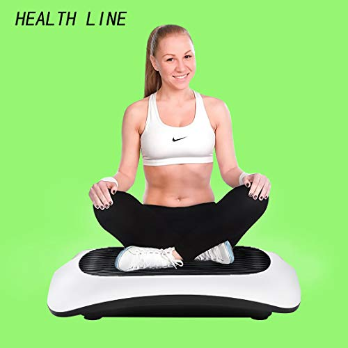 HEALTH LINE MASSAGE PRODUCTS 330LB Vibration Plate Exercise Machine Whole Body Workout Vibration Fitness Platform Home Training Equipment with Two Bands and Remote for Weight Loss & Toning