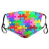 Autismo Mas_k Concientización autismo cubierta reutilizable lavable acuarela tela rompecabezas ajustable con 2 piezas para adultos niños