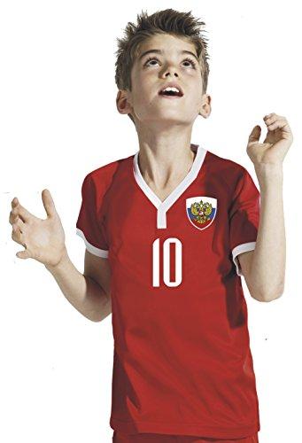 Aprom-Sports Rusia Niños Pantalones–Camiseta del surtidor Incluye Impresión Nombre Personalizado + nº RRR WM 2018, Rojo, 128