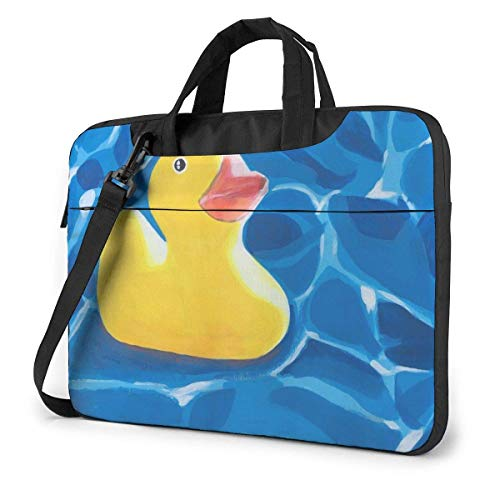 15.6″Lightweight Laptop Notebook Shoulder Backpack Bag Yellow Rubber Duck Painting Art Waterproof PC Briefcase Messenger with Strap
