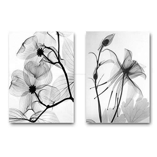 MXmama Carteles de Lienzo Florales escandinavos en Blanco y Negro Impresiones de Lienzo Pintura de Pared Minimalista Cuadro Decorativo Decoración para el hogar-60x80cmx2pcs (sin Marco)