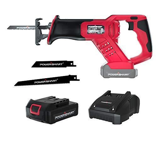PowerSmart Cordless Reciprocating Saw,1.5Ah Li-ion Reciprocating Saw with Fast Charger, Tool-free Blade Change and Variable Speed,Woodworking Saw Mini Saw PS76415A
