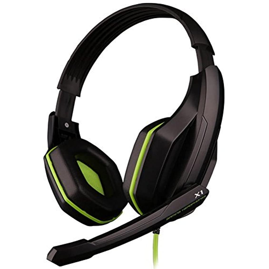 監督する無限スロットGranVela? X1 Gaming Headset Wired Stereo Over-Ear Headphones with Microphone and Volume Control PU Ear-pad for PC, Notebook, Mac (Green) [並行輸入品]