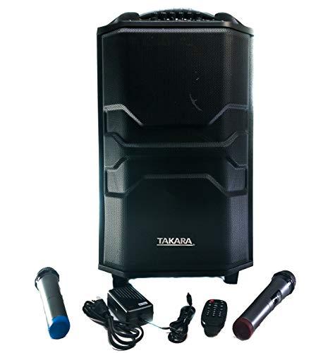 Takara Karaoke Speaker Trolley 12 Inch Woofer Portable Multimedia Bluetooth; Audio Recording; USB; SD; TF; AUX PA System with 2 Wireless UHF Mic; Remote Control; FM (Black)