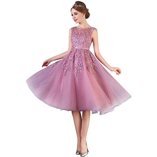 Damen Prinzessin Herzform Spitzen Trauzeugin kleid Applique Prom dress Knilang Altrosa 38