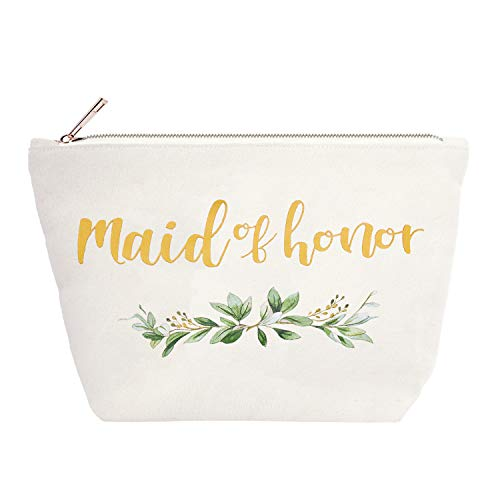 ElegantPark Maid of Honor Bridesmaid Cosmetic Bag Travel Makeup Bag for Women Bridal Shower Gifts Wedding Party Pouch Zipper Canvas