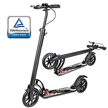 besrey Kick Scooter for Adults for 8 Years and Up - 2 Wheel Folding Scooter with Shoulder Strap for Kids Teens - Lightweight Aluminum Frame Adjustable Handlebars Scooters for Riders Up to 220 lbs
