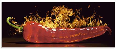 Artland Glasbilder Wandbild Glas Bild einteilig 125x50 cm Querformat Essen Gewürze Chili Feuer Peperoni Scharf S7PR
