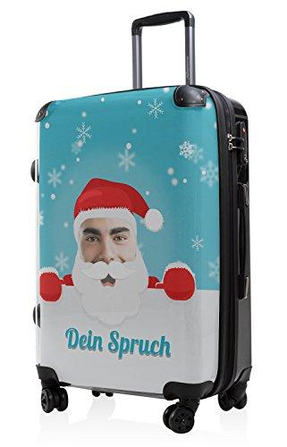 HAUPTSTADTKOFFER - Style Hartschalenkoffer Koffer Trolley Reisekoffer Reisegepäck, individuell gestalten, Geschenkidee, Design: Santa- Dein Bild Blau