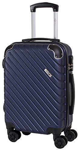 CABIN GO MAX 5510 Valigia Trolley ABS, bagaglio a mano 55x37x20, Valigia rigida, guscio duro e antigraffio con 8 ruote, Ideale a bordo di Ryanair, Alitalia, Air Italy, easyJet, Lufthansa BLU