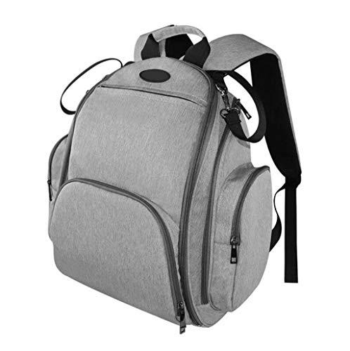 Waterdichte luierrugzak voor grote luiers, casual rugzak, reistas voor buiten, compacte tas, kan aan een kinderwagen (grijs) worden opgehangen. Eén maat Grijs