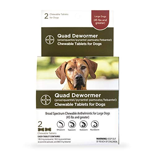 Bayer Chewable Quad Dewormer for Large Dogs, 45 lbs and over, 2...