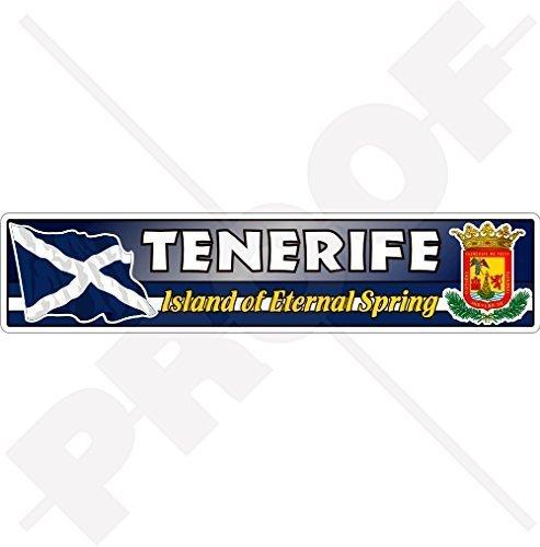 TENERIFFA INSEL Flagge-Wappen KANARISCHE INSELN Spanien, Insel des Ewigen Frühlings, Islas Canarias Emblem, Fahne 180mm Auto & Motorrad Aufkleber, Vinyl Sticker