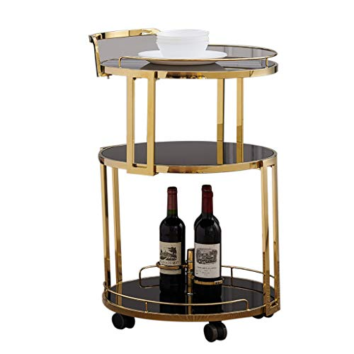 Chariot de Service à 3 Niveaux en Verre trempé doré/argenté avec Support à vin, Chariot à vin, Support de Rangement sur Roulette, 3 étagères, pour la Chambre à Coucher du Salon de Cuisine