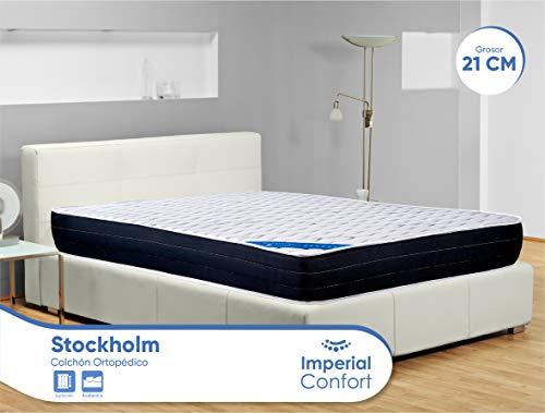 Imperial Confort Stockholm 21 Viscoelástico, Poliéster, Blanco y Gris, 90x180
