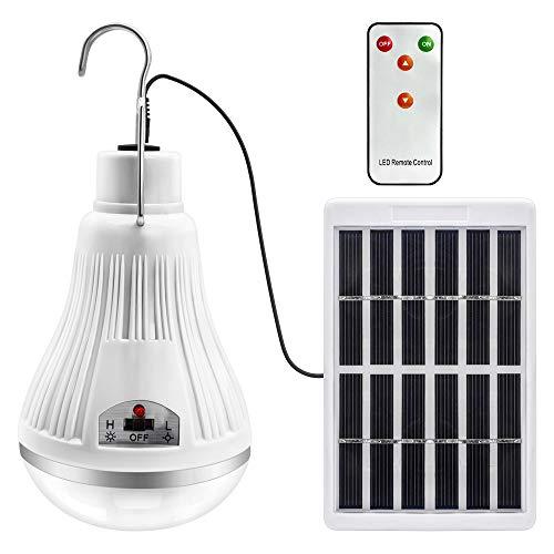 solar llevó la bombilla de luz - proyector de lámpara linterna portátil con panneau solaire con mando a distancia control remoto para senderismo al aire libre tienda de campaña iluminación de la pesca