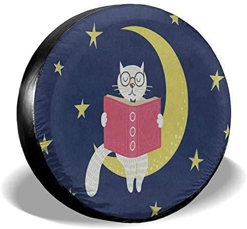 Nettes Katzenkätzchen auf dem Mond Sternenhimmel Ersatzreifenabdeckung UV-Sonnenradabdeckungen Passend für, Anhänger, Wohnmobil, SUV und viele Fahrzeuge 15 Zoll