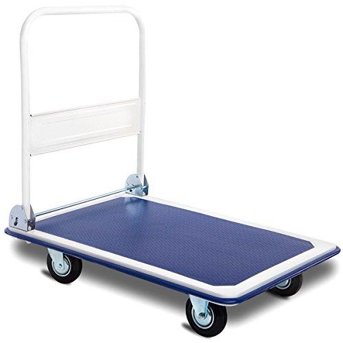 Goplus Folding Platform Cart 660 LBS Rolling Flatbed Cart Hand Platform Truck Push Dolly for Loading, Blue