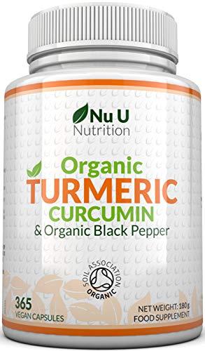 Curcuma Curcumina Biologica 600mg, 365 Capsule (Scorta per 1 Anno) con Pepe Nero Biologico | Adatto a Vegetariani e Vegani | Ce
