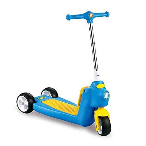 Thole Patinete Plegable NiñO Tipo PláStico Resistente Scooter con Manillar Ajustable Freno Apto para NiñOs De 3-7 AñOs Azul