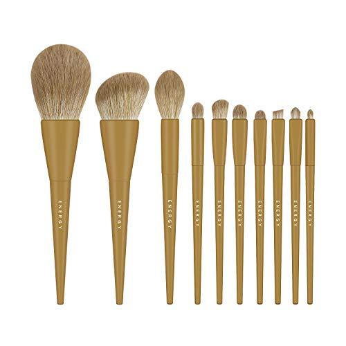 ENERGY Makeup Brushes 10 Pcs Kabuki Makeup Brush Set Professional Make Up Brushes for Blending,Buffing,Contouring,Highlighting with Powder, Blush, Eyeshadow, Foundation Face Makeup Beauty Tool Kit Green