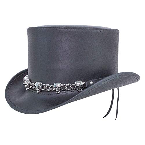 American Hat Makers El Dorado Leather Top Hat with 5 Skull Band — Medium