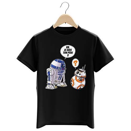T-Shirt Enfant Garçon Noir Parodie Star Wars - BB-8 et R2-D2 - BB, Je suis Ton père (Super Deformed Edition) (T-Shirt Enfant de qualité Premium de Taille 9-10 Ans - imprimé en France)