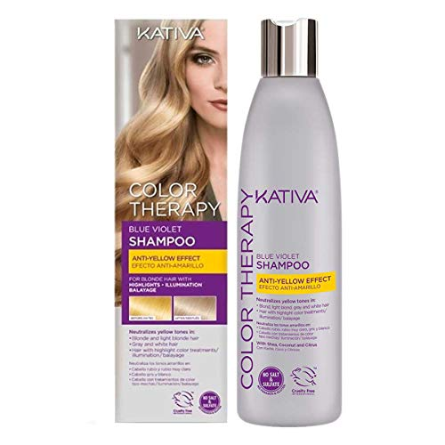 KATIVA Color Therapy - Champú Matizador para Cabellos Rubios, Grises, Canas y Mechas, Azul, 250 Mililitros