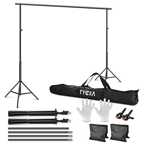 TYCKA Fotostudio Kit Foto Hintergrund Ständer Unterstützungssystem Set 2.6x3M/8.5x10Ft mit Tragetasche Verstellbarer aus Aluminiumlegierung Hintergrundständer für Foto...