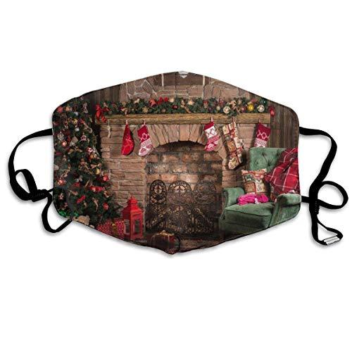 Verstelbare oorlus mondhoes, herbruikbare gezichtsbeschermer, uniseks gezicht hoes, kerst open haard achtergrond bedrukt ademende warme Respirator, monddemping, gezicht decoratie
