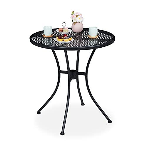 Relaxdays Gartentisch, mit Schirmloch, Gitter-Optik, wetterfest, Stahl, HxD: 72 x 70 cm, runder Balkontisch, schwarz