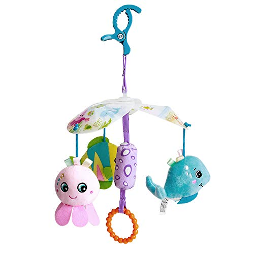 Funsland Baby Toys for 0-12 Months Toddlers Clip On Car Seat Toy and Baby Stroller Toy with Hanging Rattle for Infants Sensory Toys for Baby Girls and Boys