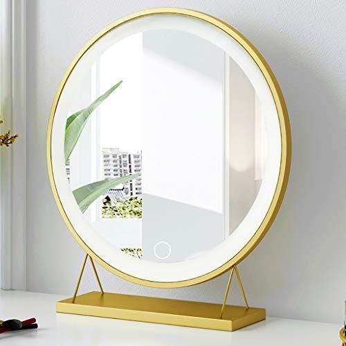 Espejo baño Pared Inteligente de maquillaje LED Espejo, retro europeo Ronda de oro Baño Mirror- Espejo de baño - Espejo for afeitarse, Fill luz de escritorio de la luz llevada Vestir espejo (30 * 34cm