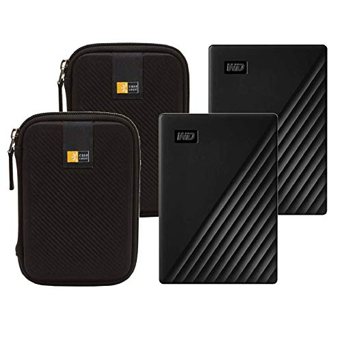 2 WD 2TB My Passport USB 3.2 Gen 1 External Hard Drive (2019, Black) + 2 Compact Hard Drive Cases