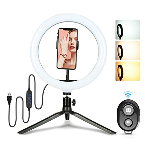 Selfie Ring Light 10-Inch with Phone Holder Phone Live Beauty & Tripod Stand &Remote Control Dimmable Led Camera Beauty Ringlight for Video Recording/YouTube Video/Desk Makeup