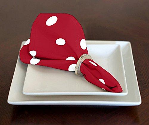 A LuxeHome rosso e bianco a pois in stile moderno, pranzo tovaglioli 43,2x 43,2cm set di 4
